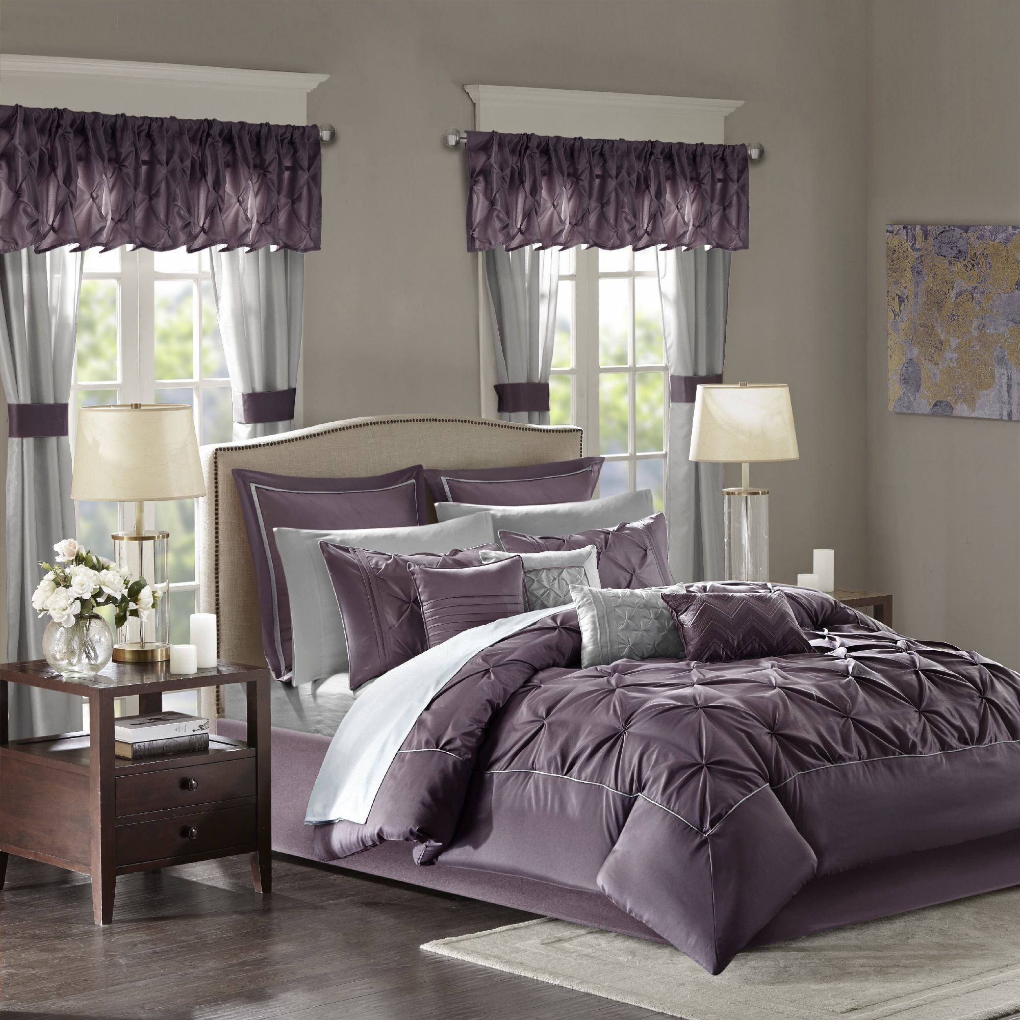 essentials pieces shipping sheet pieced curtain bedding free bath included park product jacquard room bag charley set window a madison grey today overstock in