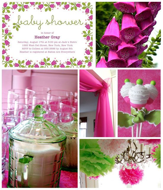 pink and green baby shower decorations it's a girl banner by, Baby shower invitations