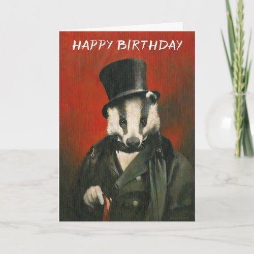 Victorian Mr Badger Birthday Card Zazzle Com In 2021 Birthday Cards Birthday Cards Diy Funny Birthday Cards