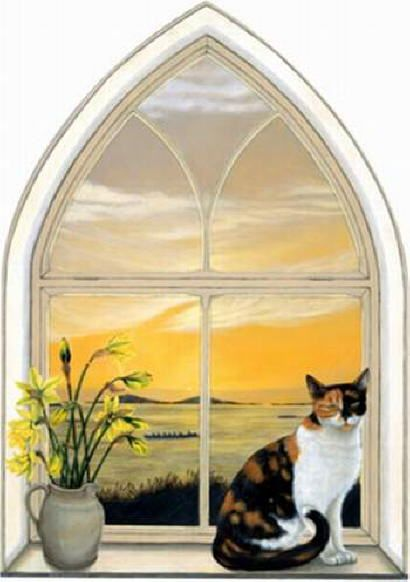 Cat in the window painting. Patsy Swanborough - Bonnie