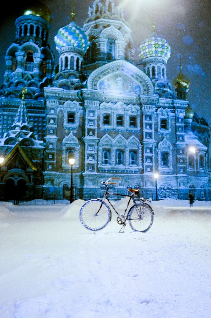 my bike in the snow