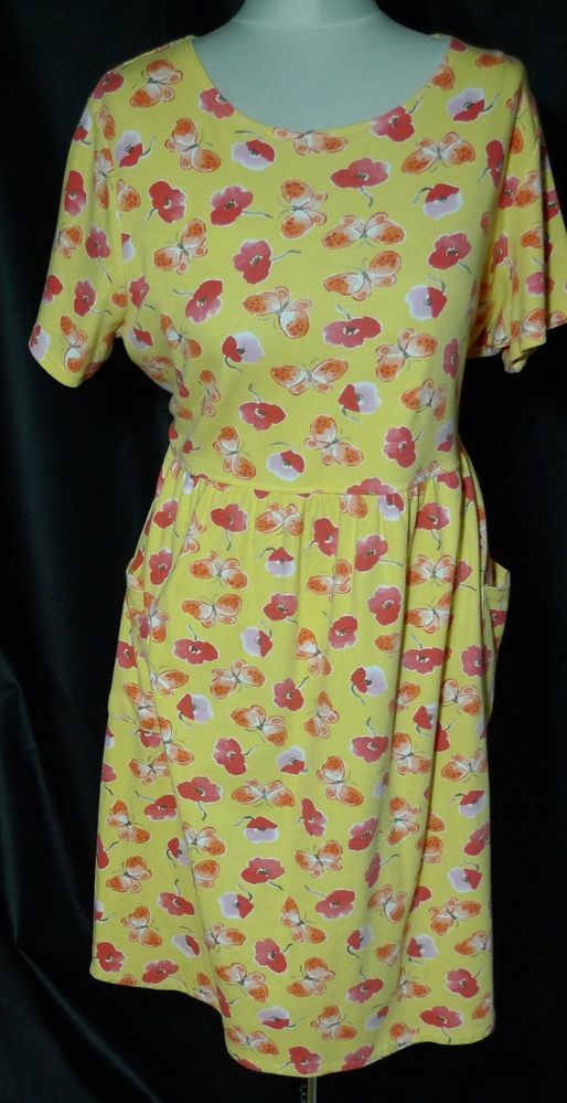 f280f9002b3c0 Womens Plus size Dress 2x Yellow Bobbie Brooks Knit Cotton Blend Floral   BobbieBrooks  Sundress  Casual