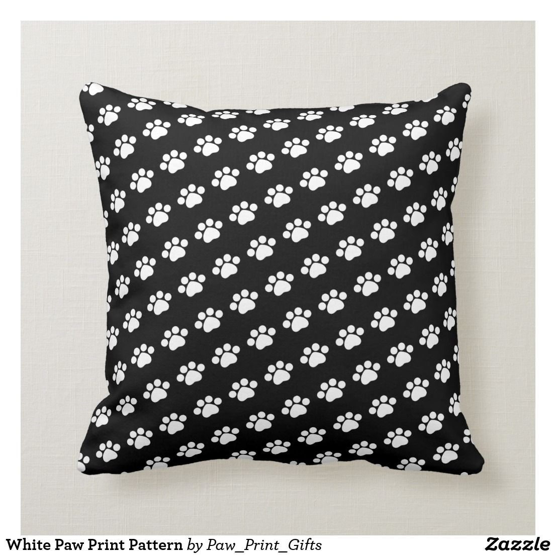 White Paw Print Pattern Throw Pillow {affiliate link} This