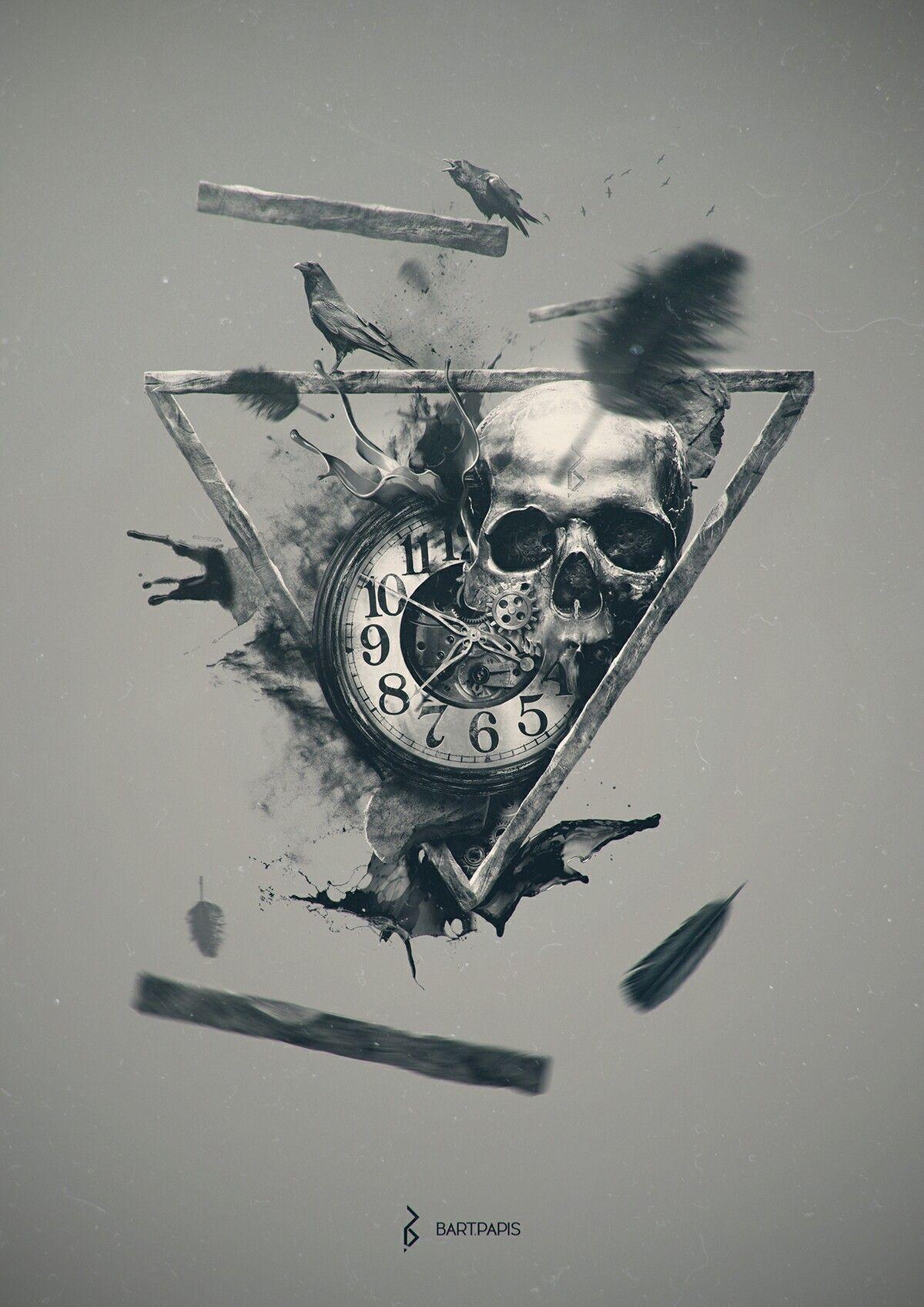 Creative clock background  Pin by Andrya Saran on Skulls and skeletons  Pinterest  Skeletons