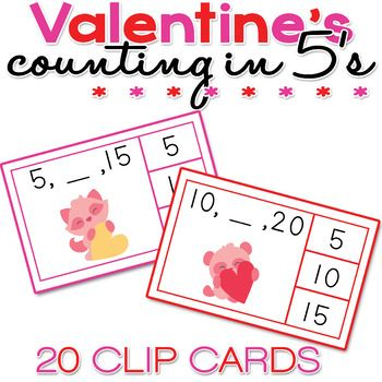 These Valentine's Counting in 5's clip cards are perfect for centers, practicing the five timestable and motor skills.This Valentine's Counting in 5's packet includes: 20 x Different Clip Cards with numbers 5 - 110 (cards are 8.5 x 5.5 each)YOU CAN:- Print, Cut, and Shuffle - students will use clothespin / pegs, or circle, the correct answers.