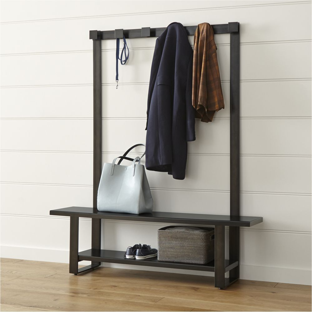 modern entryway furniture. Welkom Hall Tree Bench With Coat Rack - Crate And Barrel Modern Entryway Furniture E