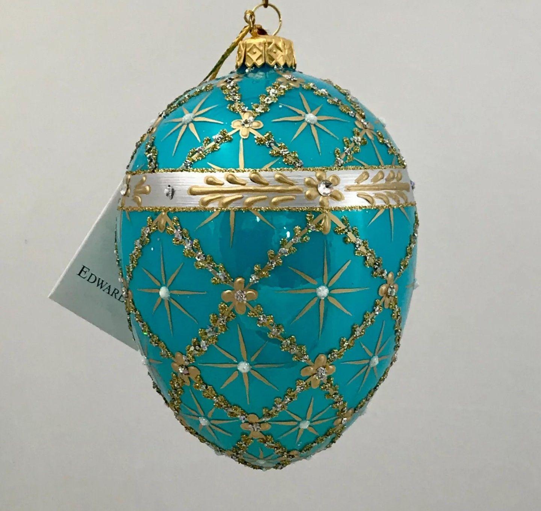 Edward Bar Turquoise Carriage Egg Christmas Ornaments Novelty