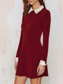 Kleid Langarm mit Revers - burgund rot