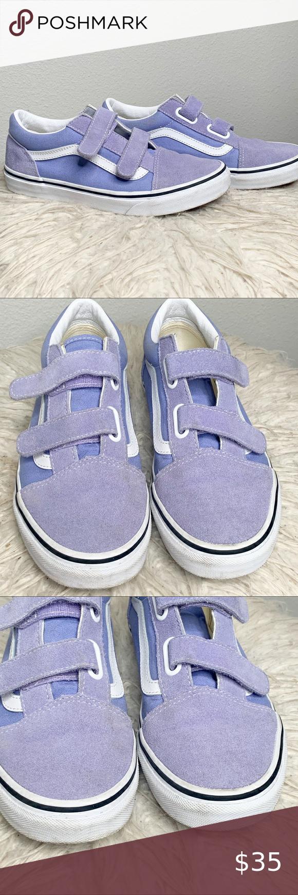 Vans Purple Velcro Shoes in 2020