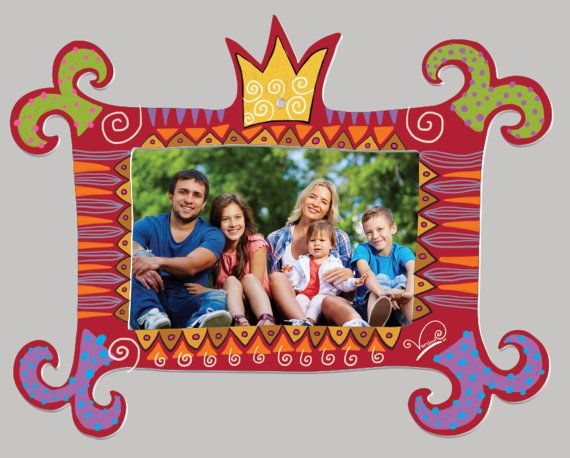Metal Picture Frame Crazy Royal Yellow Crown To Hang By Vardool