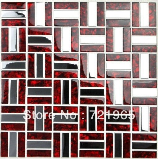 Kitchen Backsplash Red brick stainless steel mosaic tile glass mosaic kitchen backsplash
