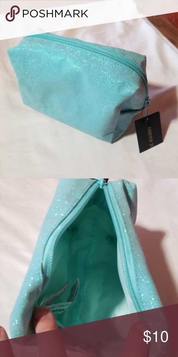 0e671e56cd5 Glitter Makeup Bag Tiffany Blue Forever 21 Pouch Brand New Bags Cosmetic  Cases
