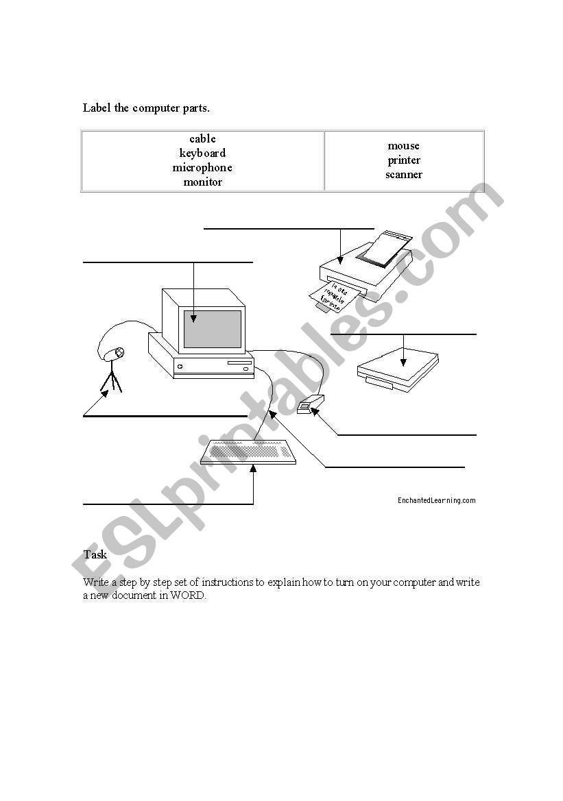 Computer Parts Labeling Worksheet : computer, parts, labeling, worksheet, Computer, Parts, Labeling, Worksheet, English, Worksheets, Puter, Printables,, Worksheets,, Cursive, Writing
