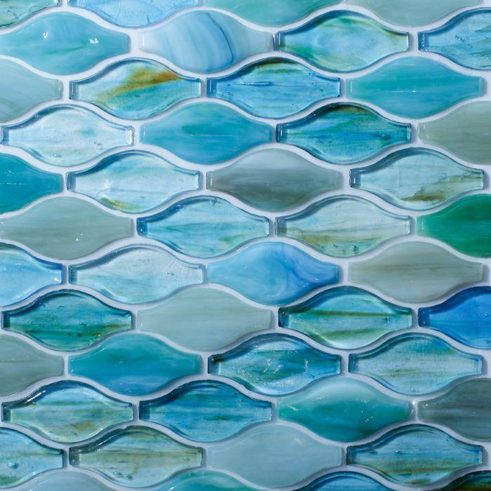 Aqua Marine Colored Gl In Curved
