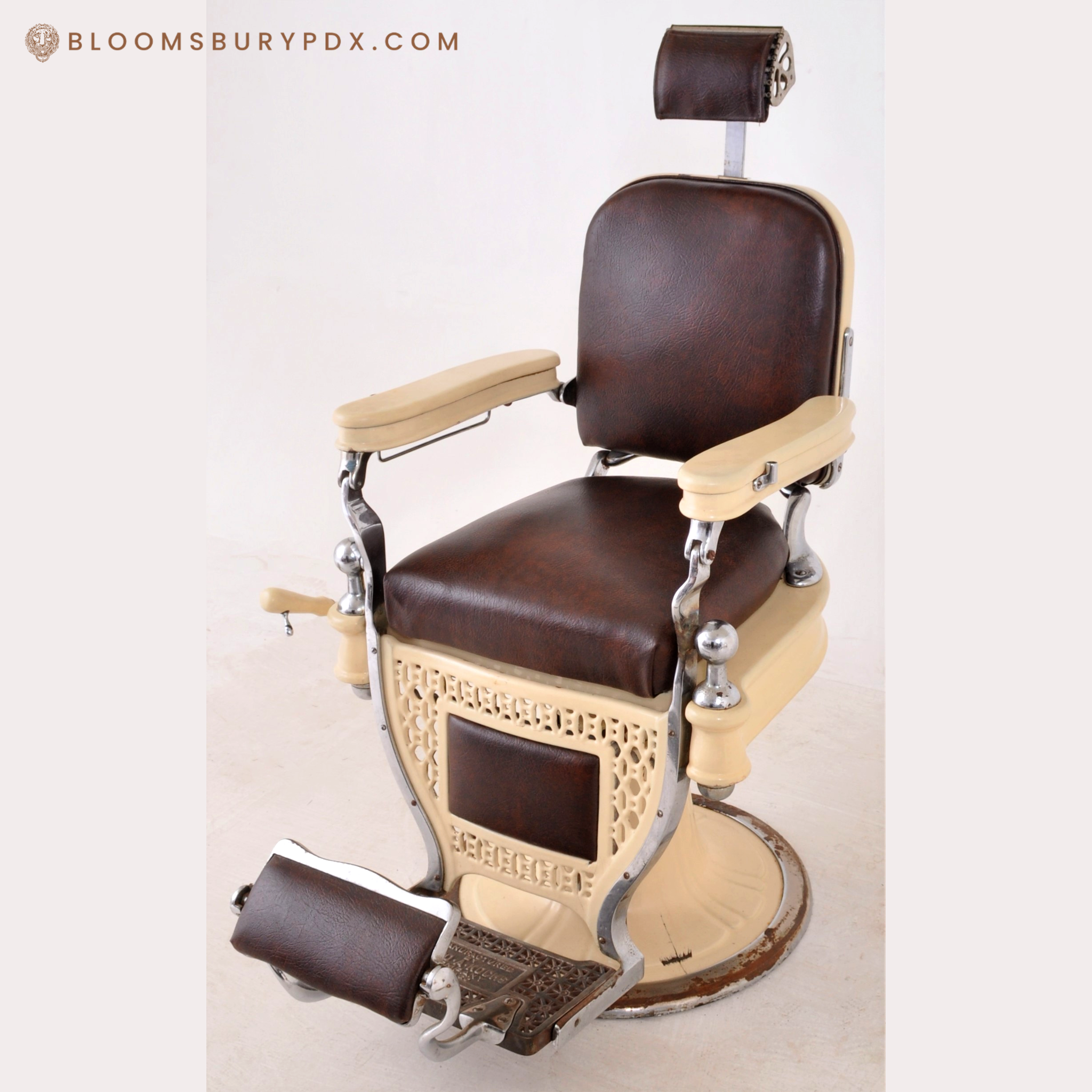 Antique Vintage Barber Chair By Theo A Kochs Co Chicago Circa