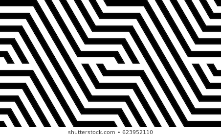 Seamless Pattern With Black White Striped Lines Optical Illusion Effect Geometric Tile In Op Art Style Vector Illusive Background Texture Futuristic Elemen