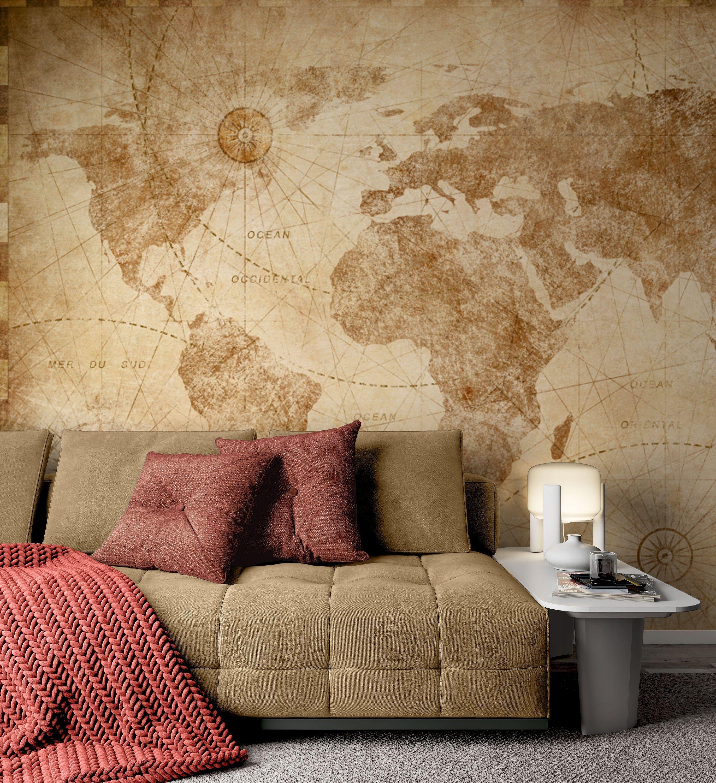 Vintage Style World Map Wallpaper Self Adhesive Peel And Stick Etsy World Map Wallpaper Map Wall Art Bedroom Living Room Murals