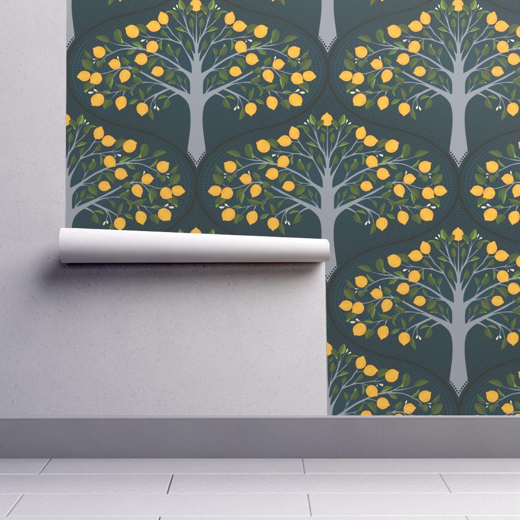Wallpaper Midnight Lemon Trees Tree wallpaper, Peel