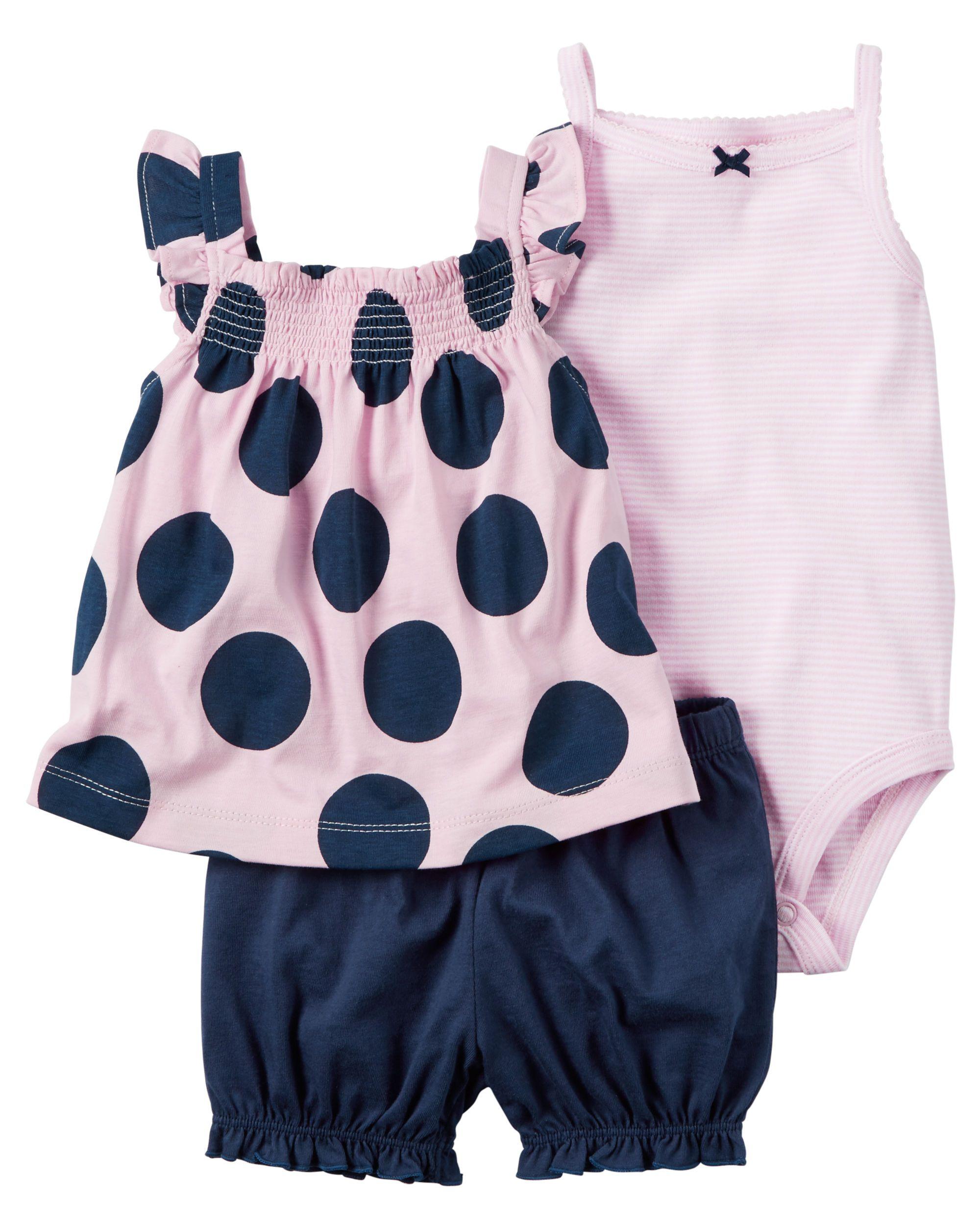 Baby Girl 3-Piece Bodysuit & Diaper Cover Set | Carters.com