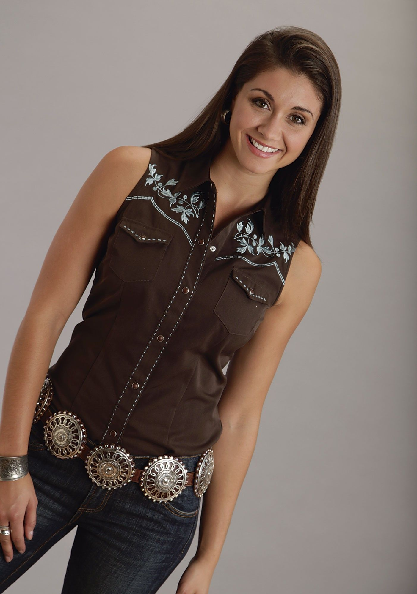 9307feb7 A sleeveless western shirt is a great option for women during the summer  season. Browse our ladies' sleeveless western shirt selection and shop  online here ...