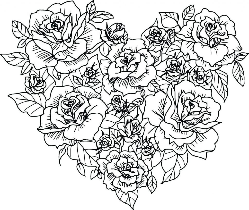 Coloring Page Flower Heart