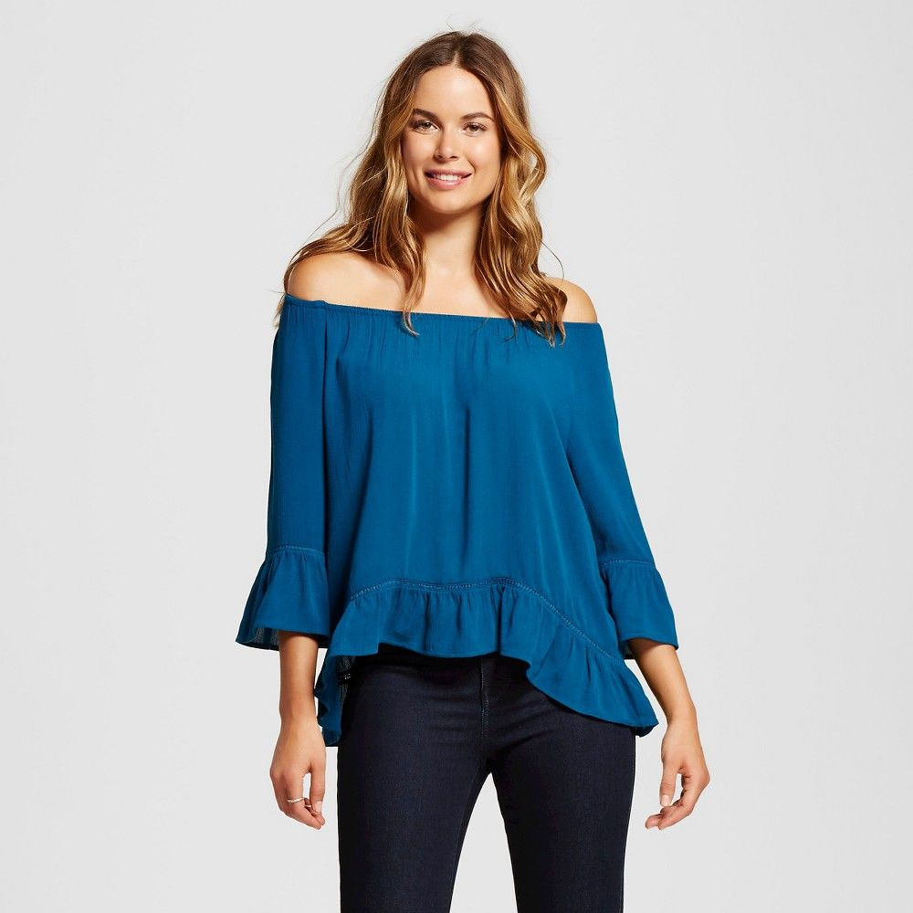 Women's Peasant Blouse with Mesh Insets - Teal XL - John Paul Richard, Red