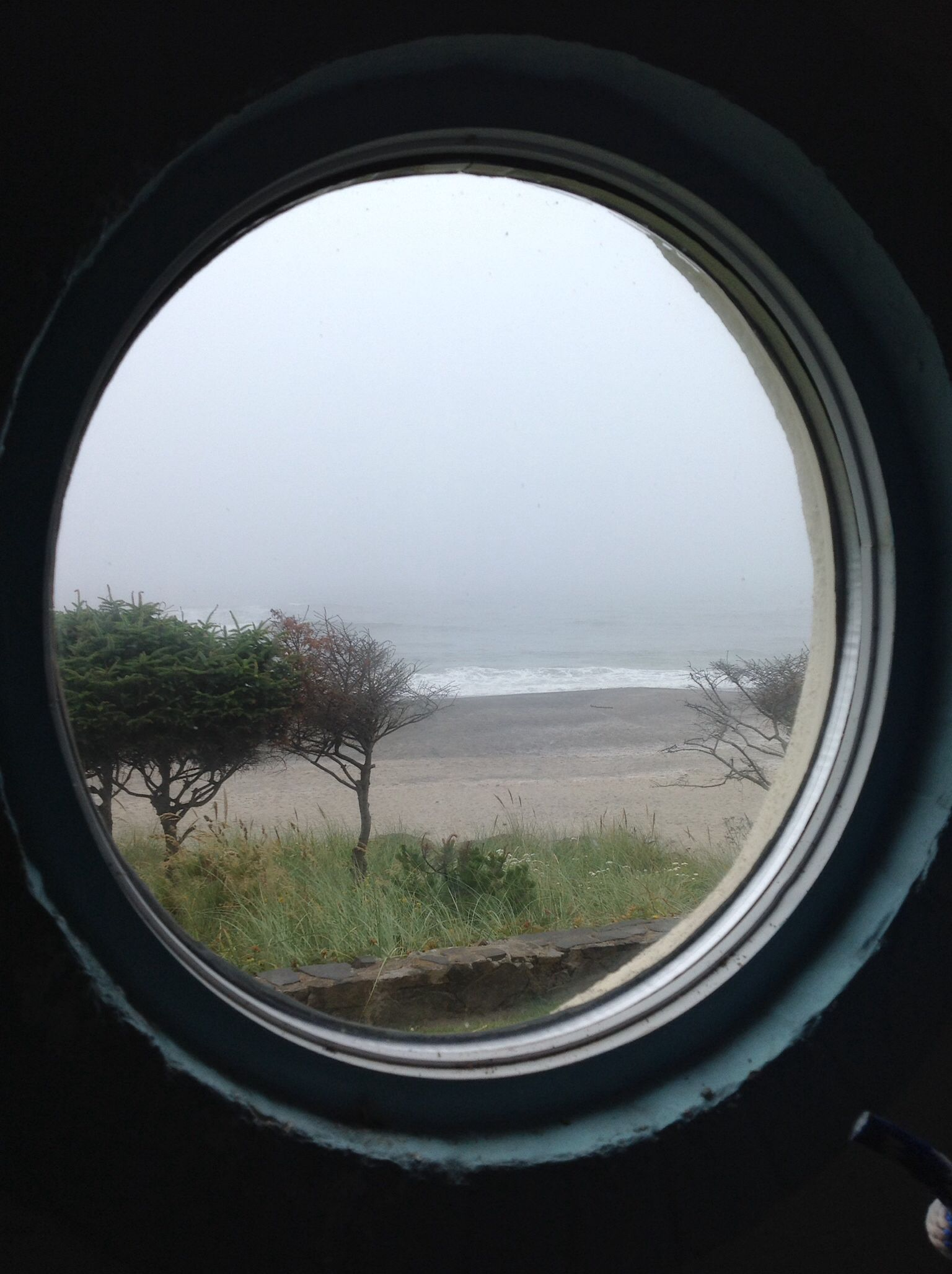 Window In Vestibule Of Vintage Era Chelan Building Neskowin Oregon Looking West Over The Pacific Ocean Elizabeth Higgins