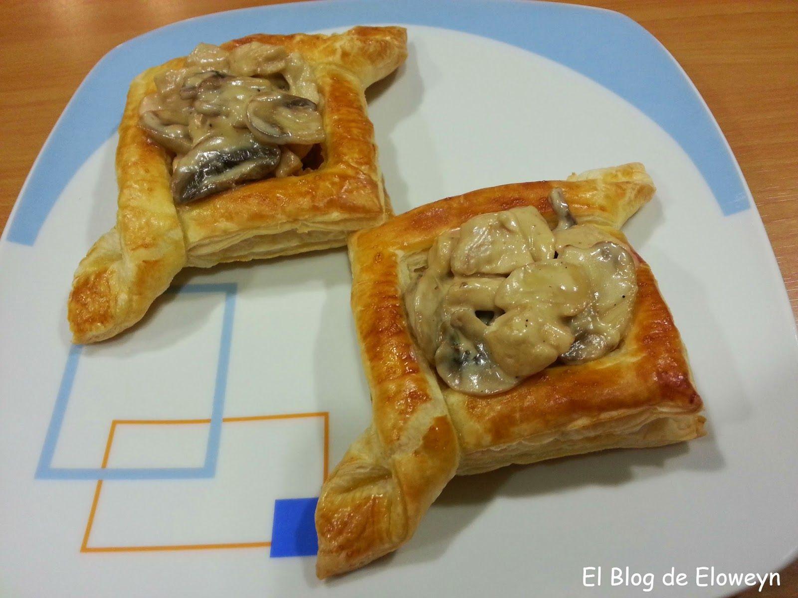 El Blog de Eloweyn: Tartaletas de hojaldre rellenas de pollo y champiñones al Pedro Ximenez