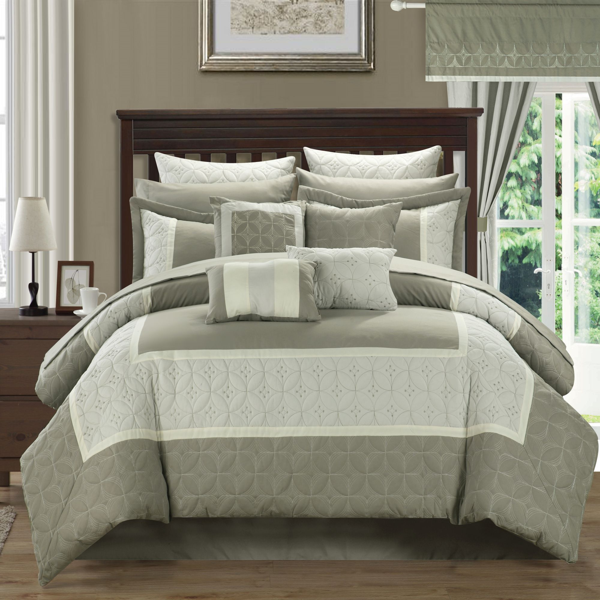 Aida Quilted 24 or 25 Piece Room In A Bag Comforter Bed Sheet Set Taupe