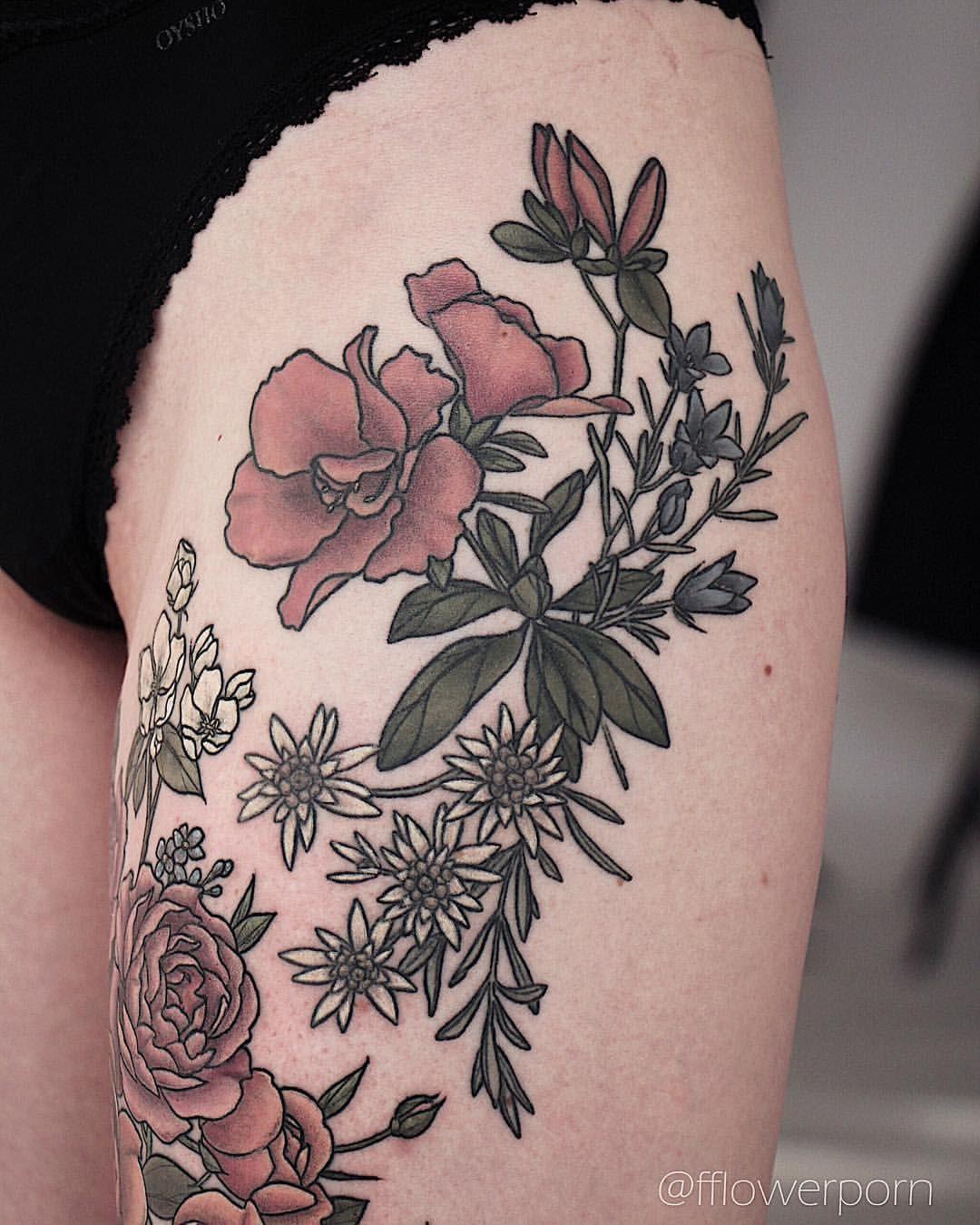 Healed tattoo tattoos plants flowers botanical