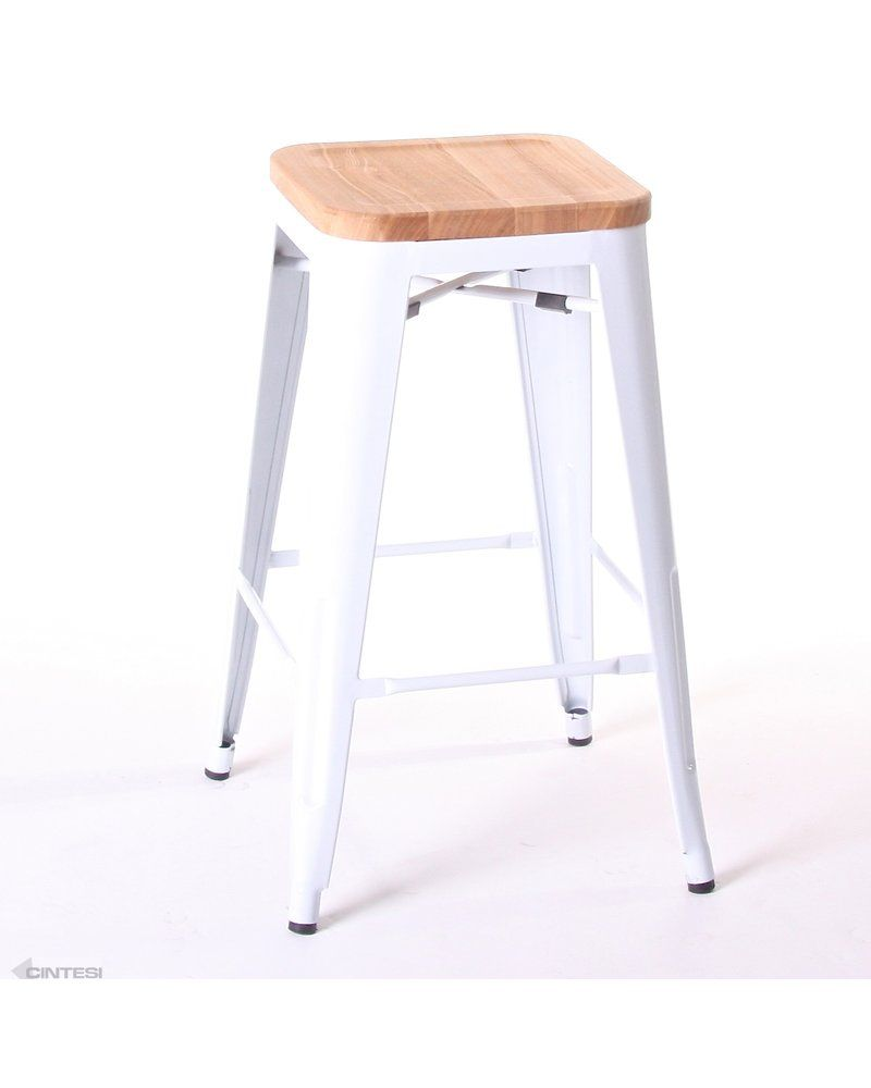 tolix replica bar stool powder coated frame with solid ash wood