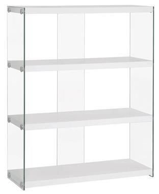Contemporary White Wood Gl Bookcase