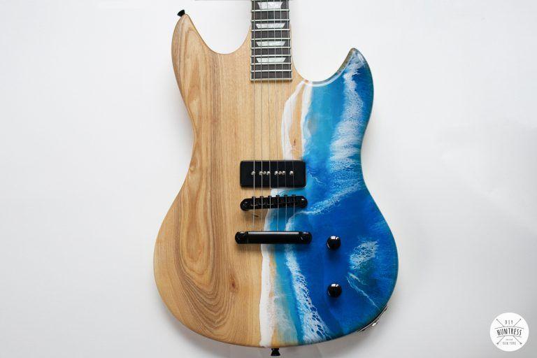 Diy Resin Ocean Pour On A Guitar Diy Huntress Wave Epoxy Diy