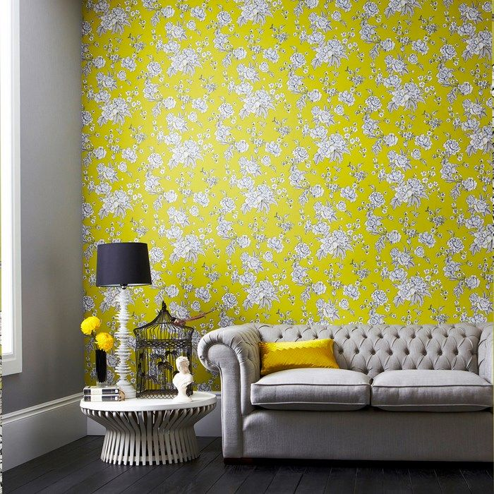 vibrant design modern floral wallpaper. Classic meets modern with this vibrant yellow floral print wallpaper  Read More On VintageAndKind com