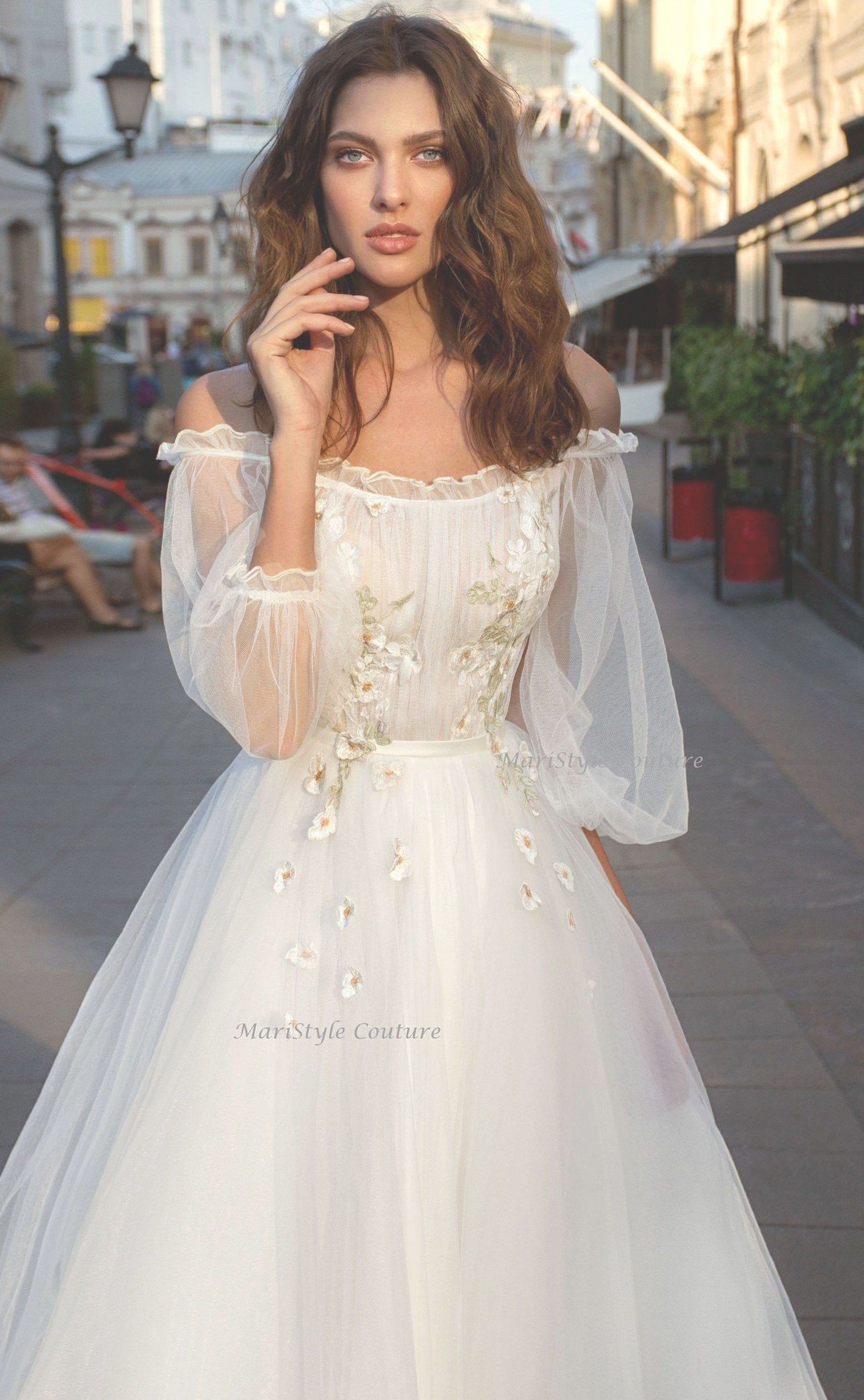 Wedding dress from Tulle wedding dresses with sleeves Airy  Etsy