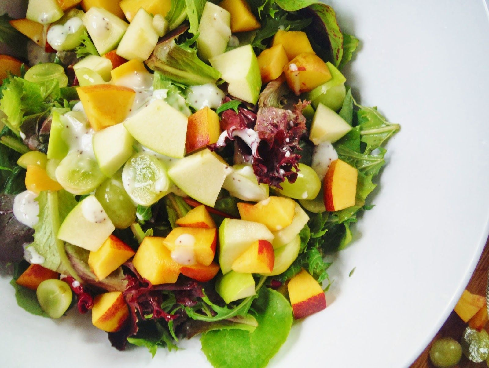 Spring Greens and Mixed Fruit Salad with Poppy Seed Dressing from King's Bakery and Cooking!