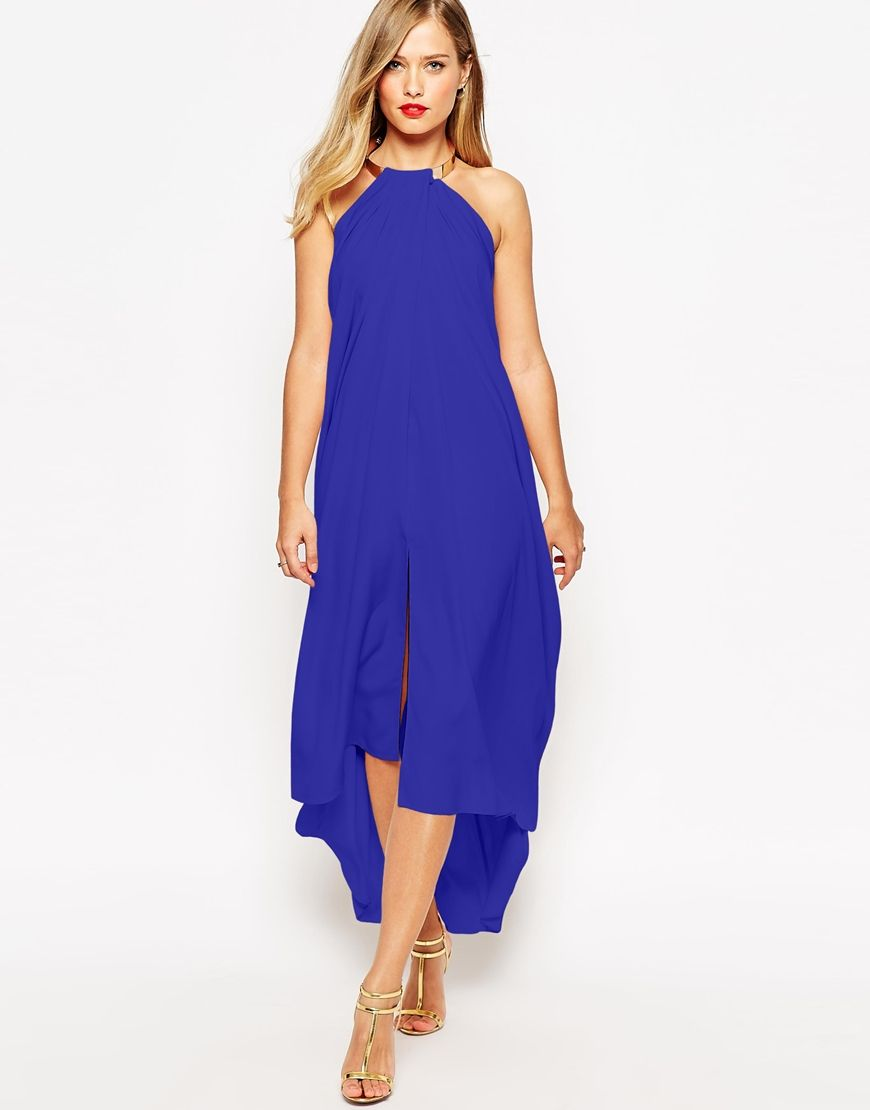 Image 1 of ASOS Halter Swing Maxi Dress With Gold Necklace | Wedding ...