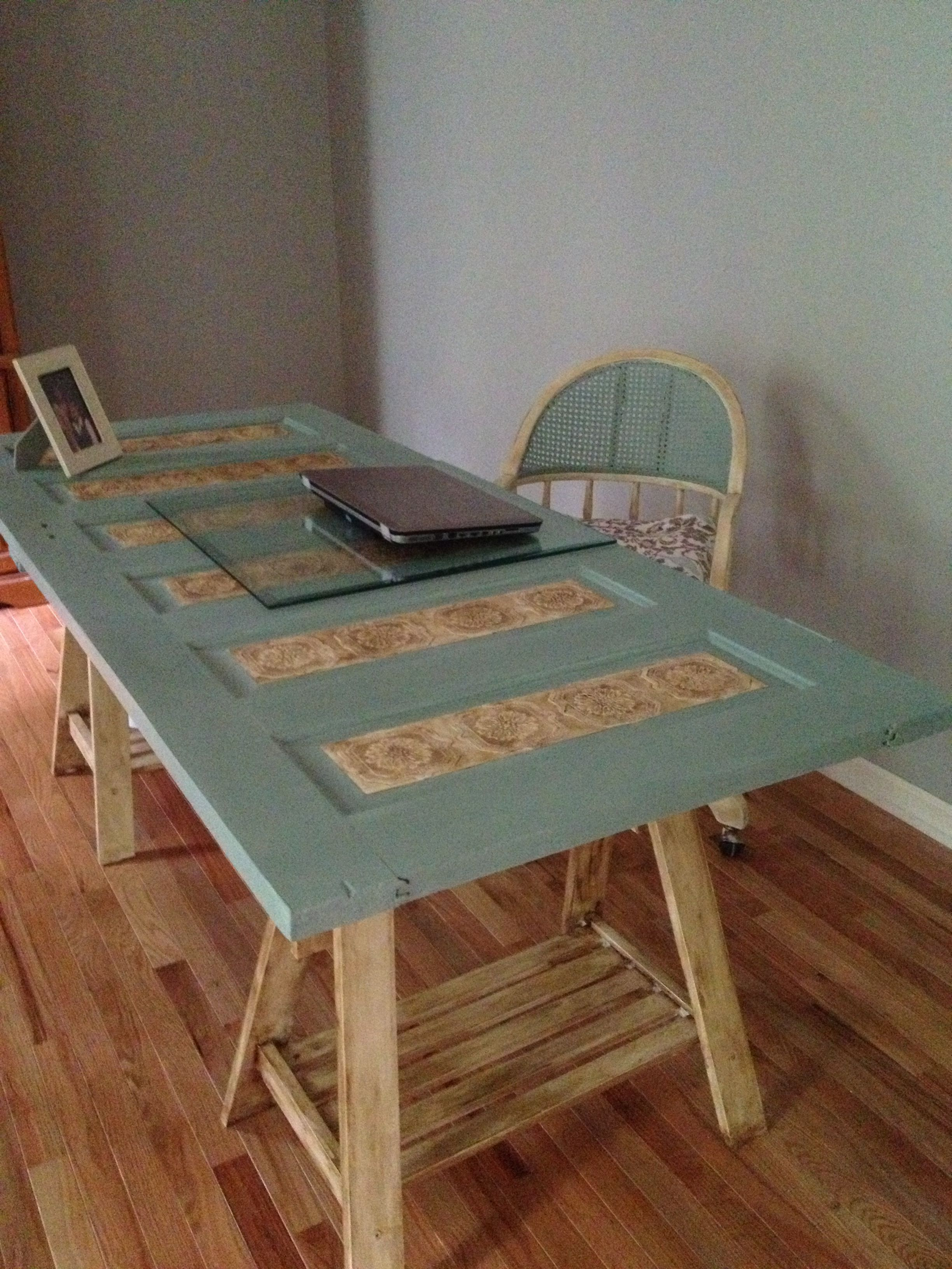 Desk Made From Old Repurposed Door And Ikea Sawhorses I