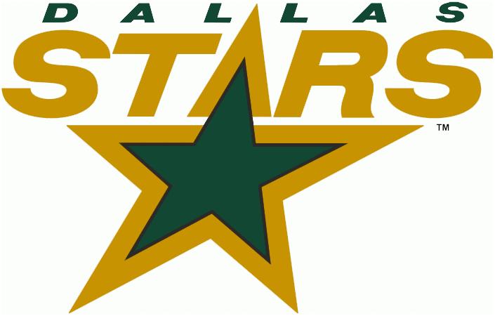 Dallas Stars Primary Logo 1994 95 2012 13 Stars In Gold Above A Green Star Shade Of Green Darkened For The Minnesota North Stars Dallas Stars Hockey Logos