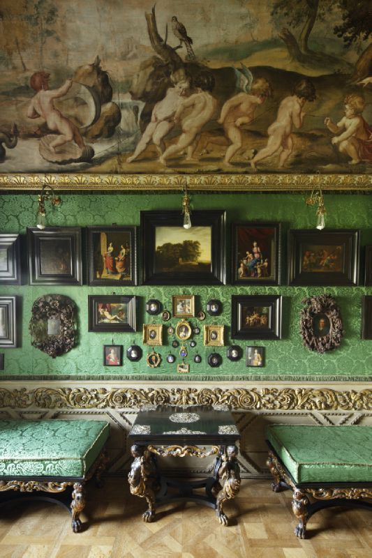 salon grouping of photos-- great green color! from This is Ham House