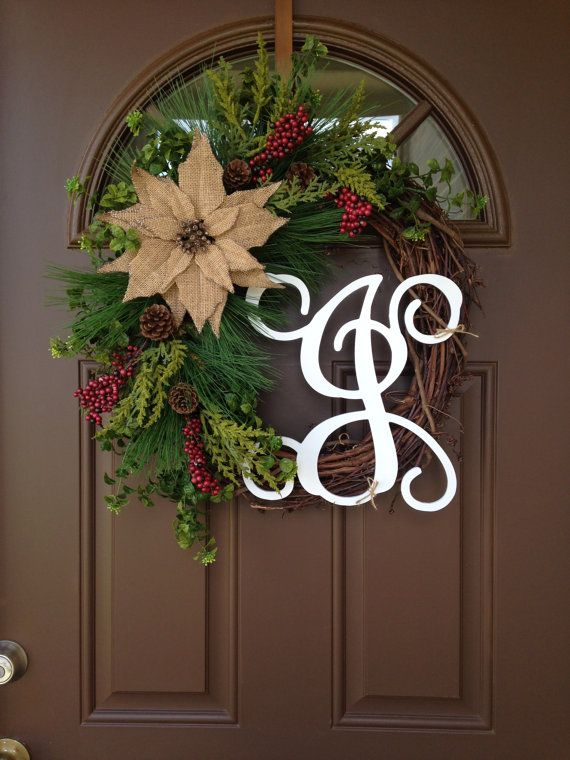 Christmas Wreath For Front Door Holiday Wreath Burlap Poinsettia Winter Wreath With Initial Personalized Christmas Wreath Door Decor