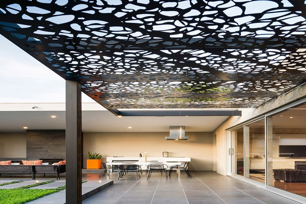 Amazing Modern Steel Pergola Design Attached To The House