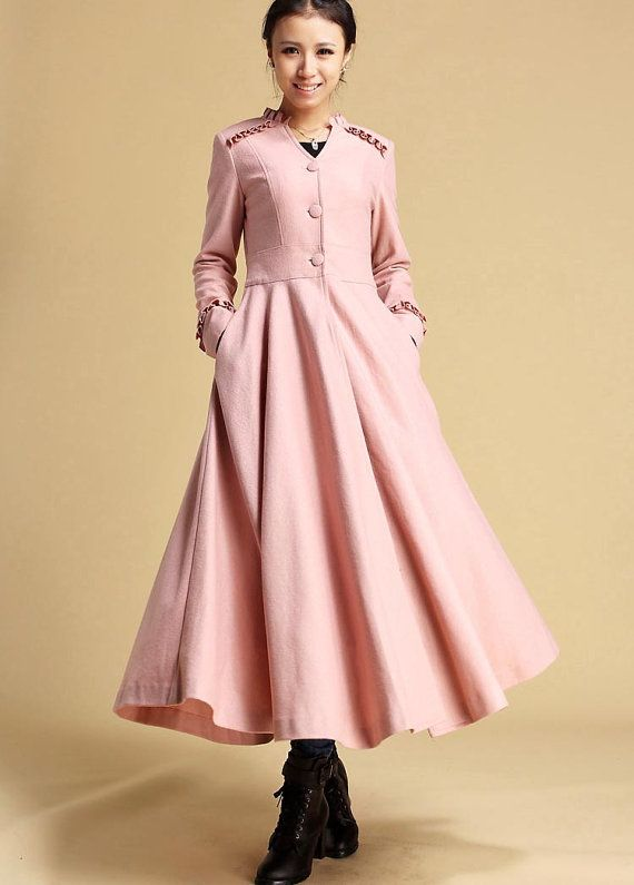 Pink wool coat maxi dress winter coat dress 329 Sales by xiaolizi ...