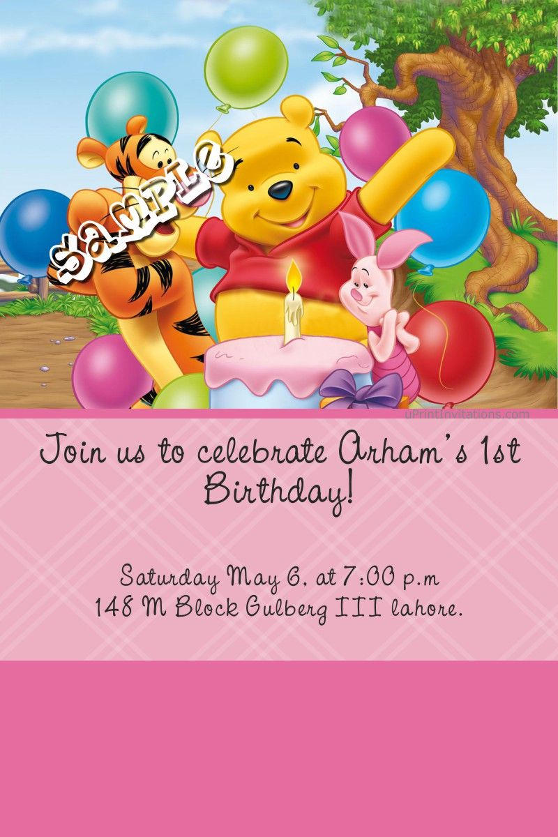 Card Winnie The Pooh Party Birthday Invitations All Colors Cute Winnie The Pooh Winnie The Pooh Pictures Winnie The Pooh