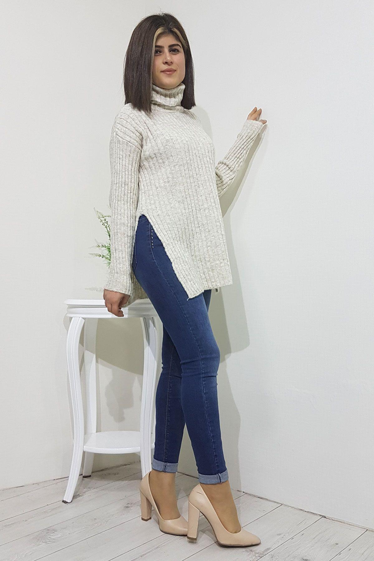 Ftilli Balikci Yaka Bayan Yun Kazak Kadin Giyim Moda Stilleri Giyim