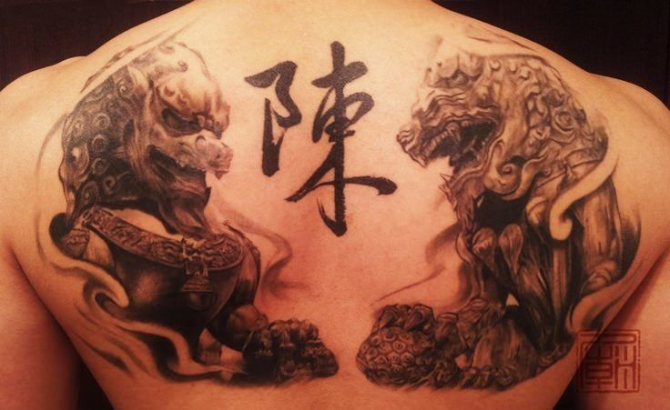 Chinese Guardian Lions Get A Modern Art Style In This Artistic Tattoo Tattoo Designs Temple Tattoo New Tattoos