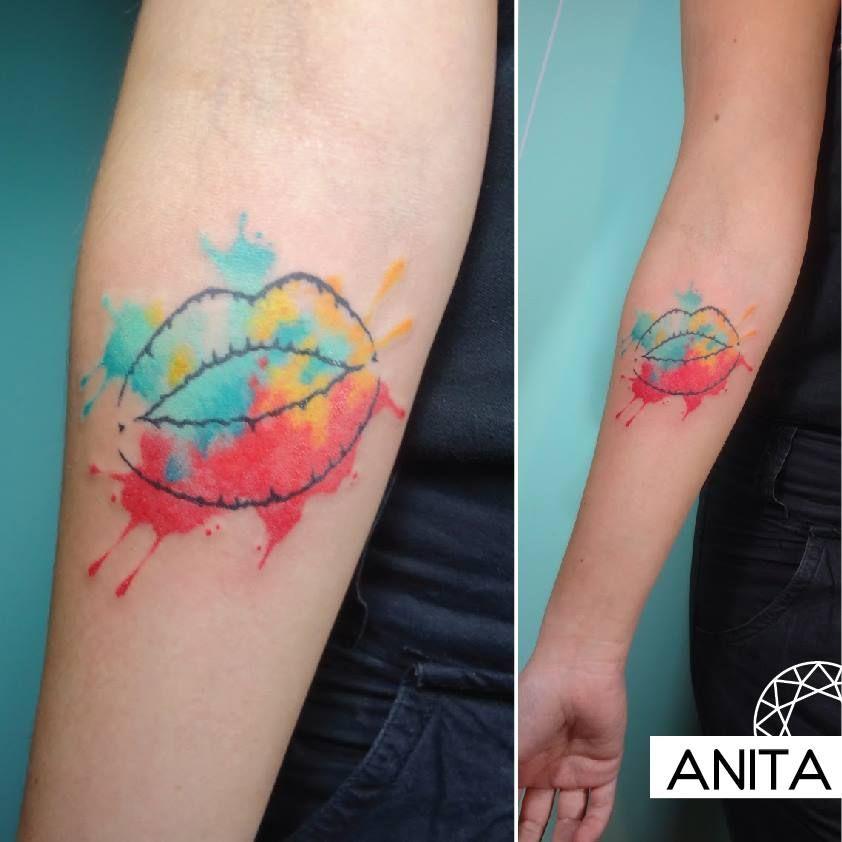 lips - aquarel ink tattoo