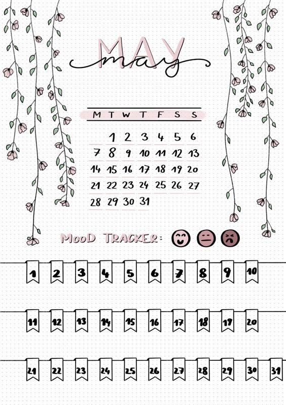 bullet journal   may cover sheet   mood tracker