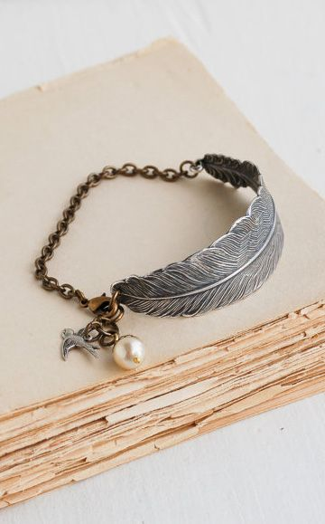 Silver FEATHER BRACELET Silver Bird Nature