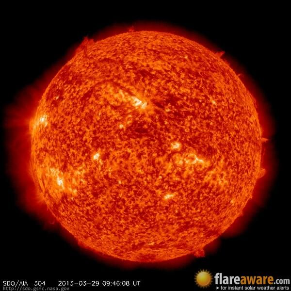 The hourly sun (at 09:46 am  UTC on 29 March 2013)